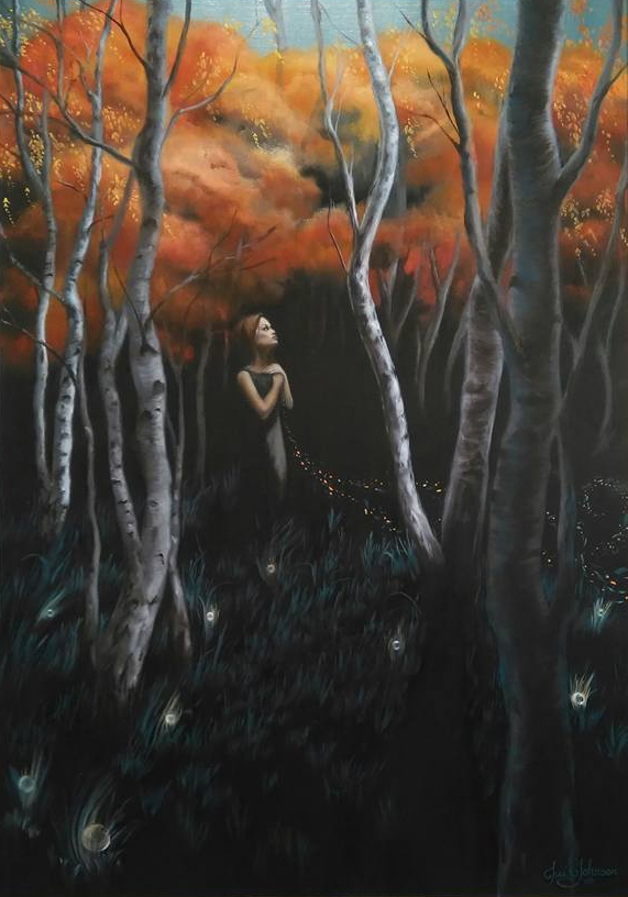 oil painting trees magical birch autumn fall woman wind leaves