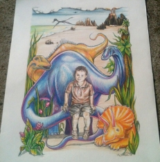 Portrait of a boy with dinosaurs